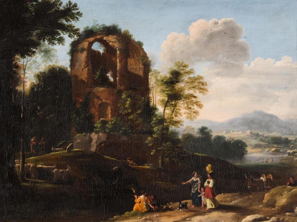 HERMAN VAN SWANEVELT| A landscape with figures among ancient ruins