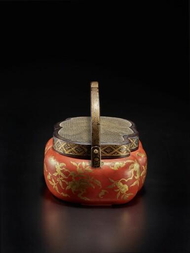 View 3. Thumbnail of Lot 220. A rare red and gilt-lacquer handwarmer, Qing dynasty, 18th / 19th century | 清十八 / 十九世紀 朱漆描金福壽雙全紋手爐.