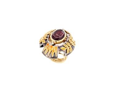 View 3. Thumbnail of Lot 5. Elie Top, Yellow Sapphire, Garnet and Diamond Ring [Bague Diamants, Grenat Mandarine et Saphirs Jaunes], 'Feu D'été'.