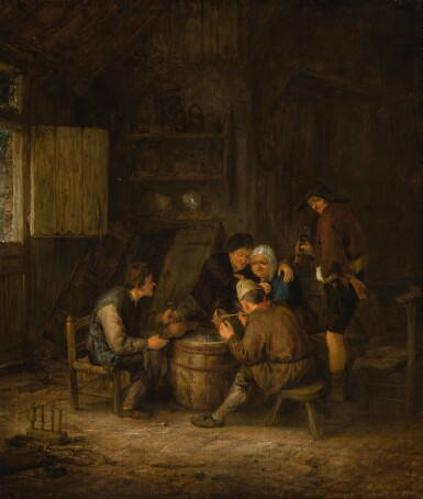 View 1. Thumbnail of Lot 145. ADRIAEN JANSZ. VAN OSTADE | Peasants smoking and drinking in an inn.