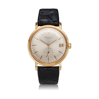View 1. Thumbnail of Lot 247. Reference 3445  A pink gold automatic wristwatch with date, Made in 1963.