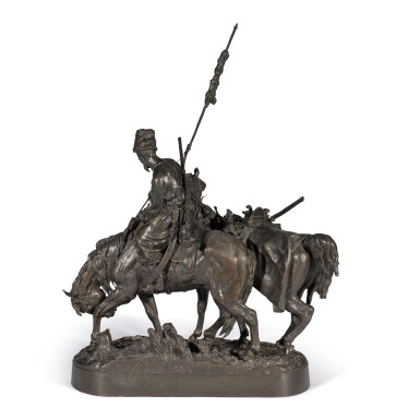 View 3. Thumbnail of Lot 290. Zaporozhian Cossack after Battle: A bronze figural group, cast by Chopin, after the model by Evgeny Lansere (1848-1886).