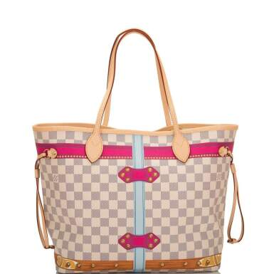 View 5. Thumbnail of Lot 213. Louis Vuitton Damier Azur St. Tropez Summer Trunk Neverfull MM of Coated Canvas and Vachetta Leather Trim with Polished Golden Brass Hardware.