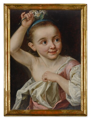 View 2. Thumbnail of Lot 587. Young girl holding a flower.