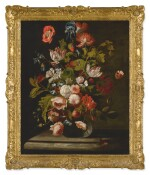 SIMON PIETERSZ. VERELST | STILL LIFE OF ROSES, TULIPS, AN IRIS AND OTHER FLOWERS, IN A GLASS VASE, RESTING ON A TABLE