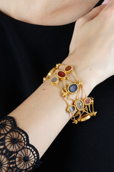 View 4. Thumbnail of Lot 149. GOLD AND HARDSTONE INTAGLIO BRACELET, CIRCA 1860.