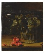 ATTRIBUTED TO LOUISE MOILLON   STILL LIFE OF A BASKET OF GRAPES WITH A CUT POMEGRANATE RESTING ON A TABLE