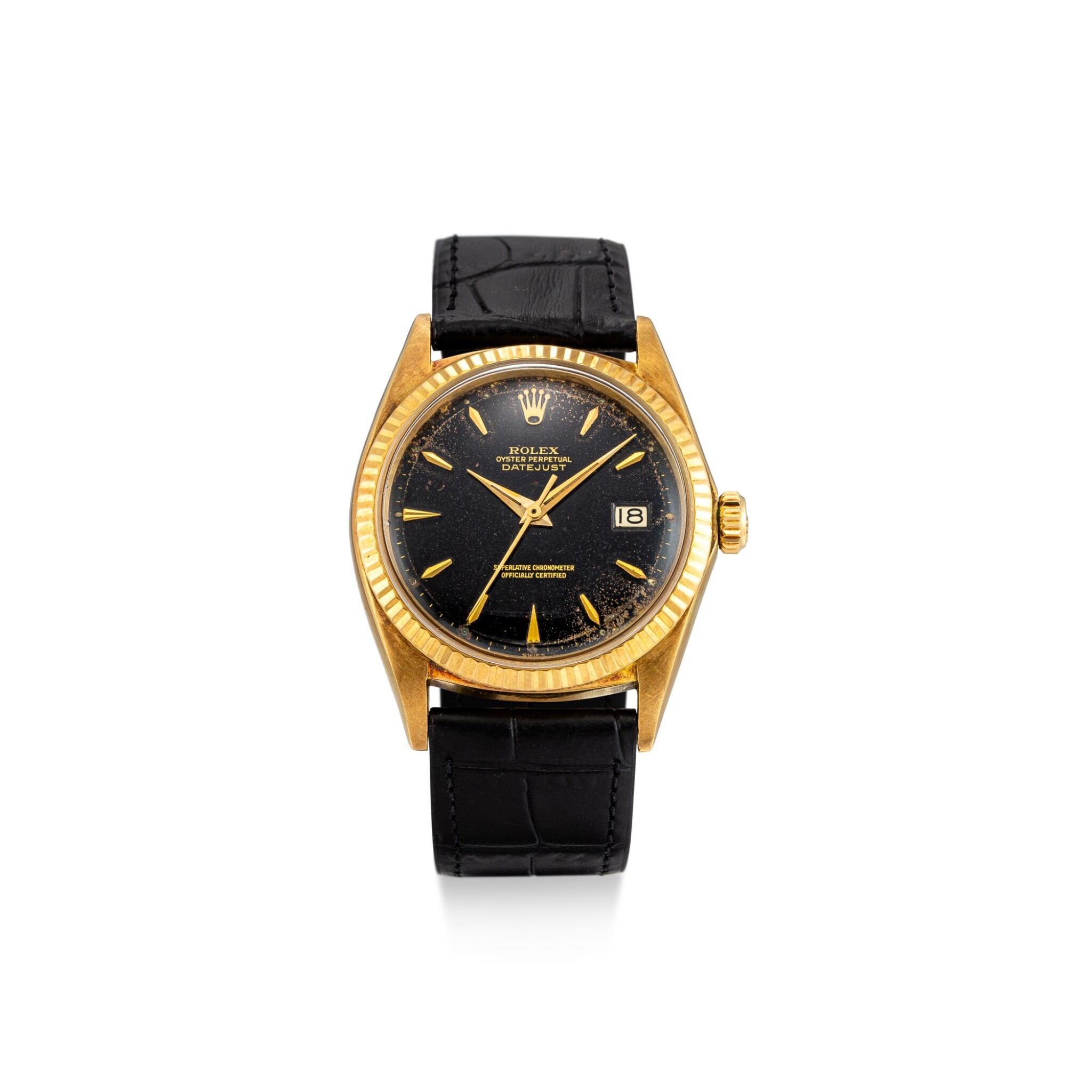 View full screen - View 1 of Lot 111. ROLEX | DATEJUST, REFERENCE 1601 A YELLOW GOLD WRISTWATCH WITH DATE, CIRCA 1964.