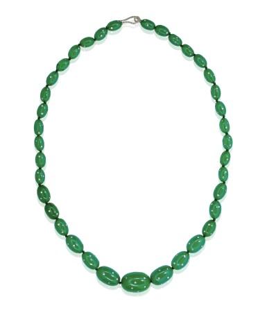 Green bakelite and diamond necklace