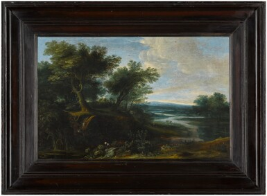 View 2. Thumbnail of Lot 27. Wooded landscape with a river and thistles.