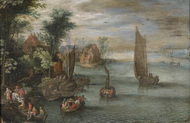 FOLLOWER OF JAN BRUEGHEL THE YOUNGER | River landscape with figures in boats and a village at the waters edge