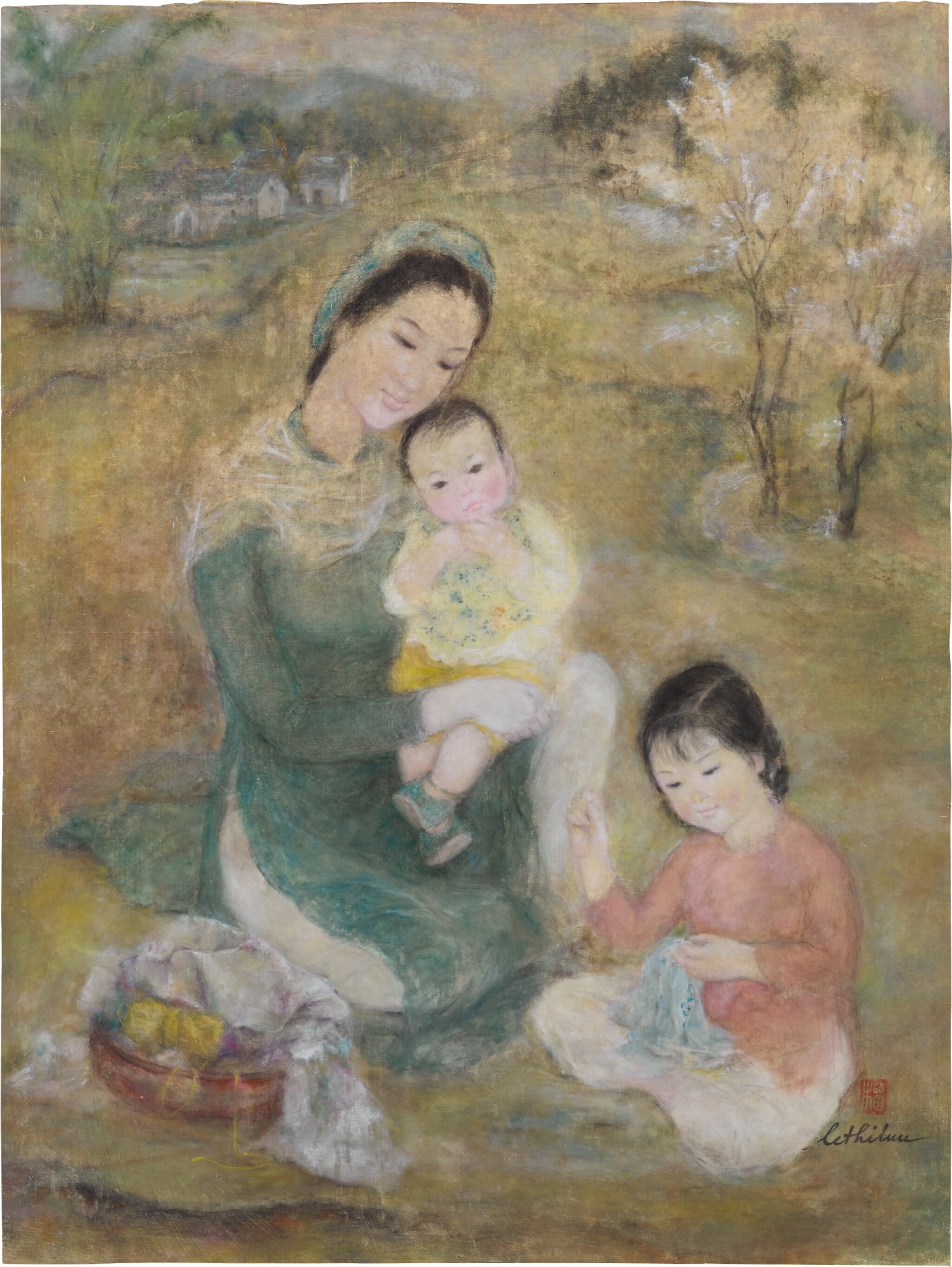 View full screen - View 1 of Lot 1038. Le Thi Luu 樂氏琉 | Woman and Children 聖母與聖子.