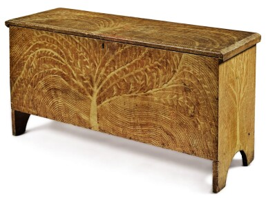 FINE AND RARE YELLOW COMB-DECORATED AND PAINTED PINE 'TREE OF LIFE' BLANKET CHEST, NEW ENGLAND, EARLY 19TH CENTURY