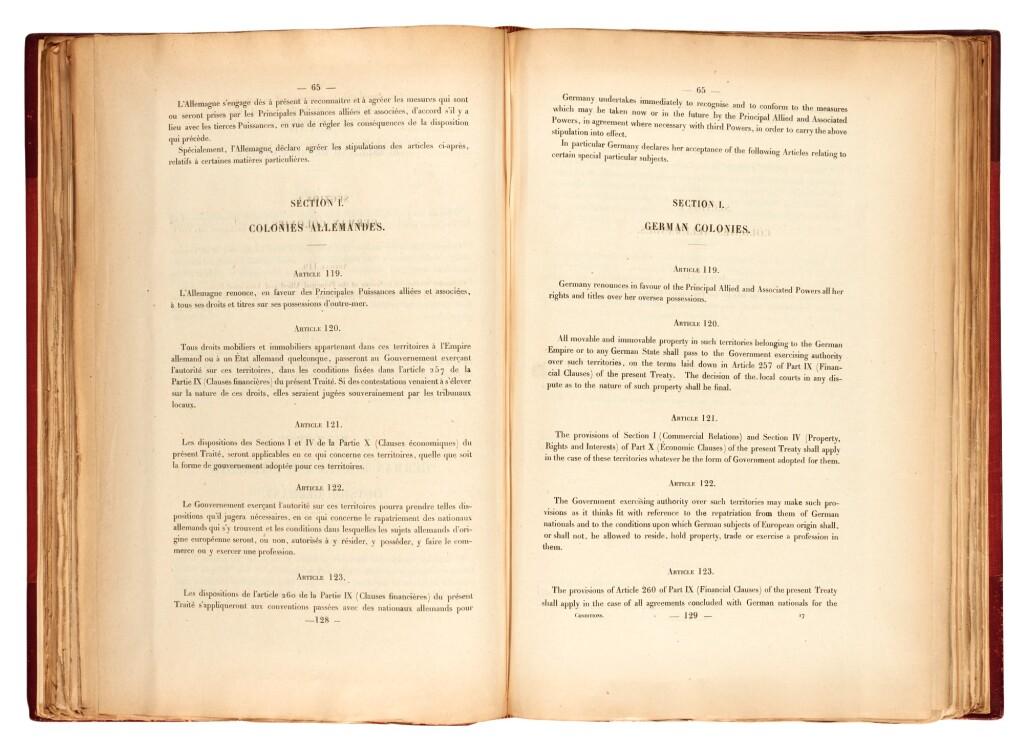 TREATY OF VERSAILLES | CONDITIONS DE PAIX. CONDITIONS OF PEACE. [PARIS, MAY 1919]