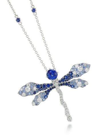 View 1. Thumbnail of Lot 288. JAMES GANH | SAPPHIRE AND DIAMOND BROOCH/PENDANT NECKLACE, 'BLUE DRAGONFLY'.