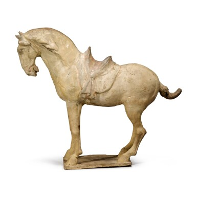 View 2. Thumbnail of Lot 105. A painted pottery figure of a horse, Tang dynasty.