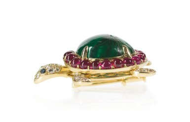 View 3. Thumbnail of Lot 33. EMERALD, RUBY AND DIAMOND BROOCH, MICHELE DELLA VALLE.