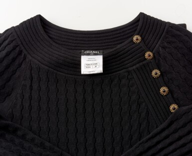 View 4. Thumbnail of Lot 157. Black wool-blend mini dress.