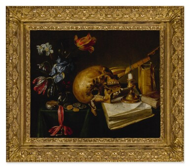 View 2. Thumbnail of Lot 639. A still life with a skull, a music book, a snuffed-out candle, a bouquet of dying flowers and other vanitas objects on a table.