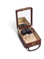 A vintage horse race crocodile leather case, Asprey London, 1925, with binoculars by Carl Zeiss, Jena