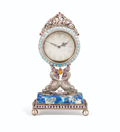 View 1. Thumbnail of Lot 64. SMALL TABLE CLOCK IN SILVER AND VERMEIL, PROBABLY ITALY, 20TH CENTURY | PETITE PENDULE DE TABLE EN ARGENT ET VERMEIL, PROBABLEMENT ITALIE, XXÈME SIECLE.