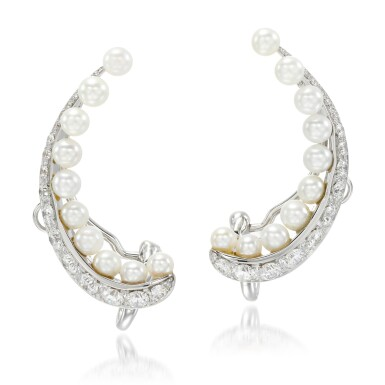 View 1. Thumbnail of Lot 25. Pair of cultured pearl and diamond ear clips, 'Pearl Rose'.