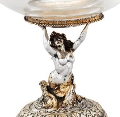 View 3. Thumbnail of Lot 264. A crystal oval bowl with parcel-gilt silver mounts, probably Hanau circa 1880 | Coupe sur pied en cristal, montée en argent et vermeil, probablement Hanau vers 1880.