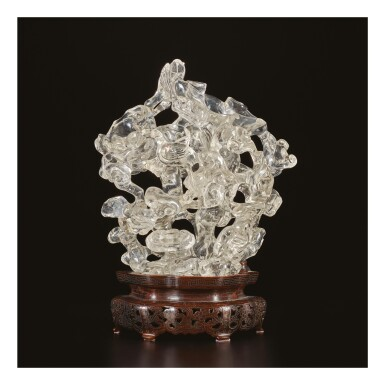 View 1. Thumbnail of Lot 670. A ROCK CRYSTAL 'LONGEVITY' DOUBLE-VASE GROUP, QING DYNASTY, 19TH CENTURY.