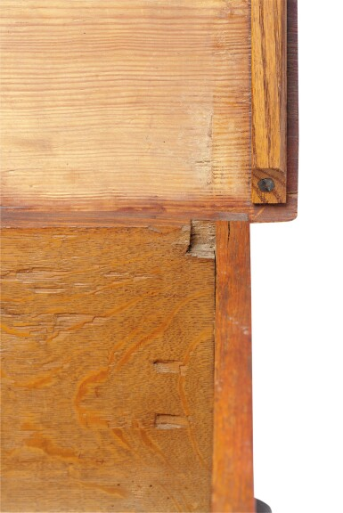 View 11. Thumbnail of Lot 59. Very Fine and Rare Pilgrim Century Red-Painted Carved Oak and Yellow Pine Document Box, attributed to John Moore I, Windsor, Connecticut, circa 1685.