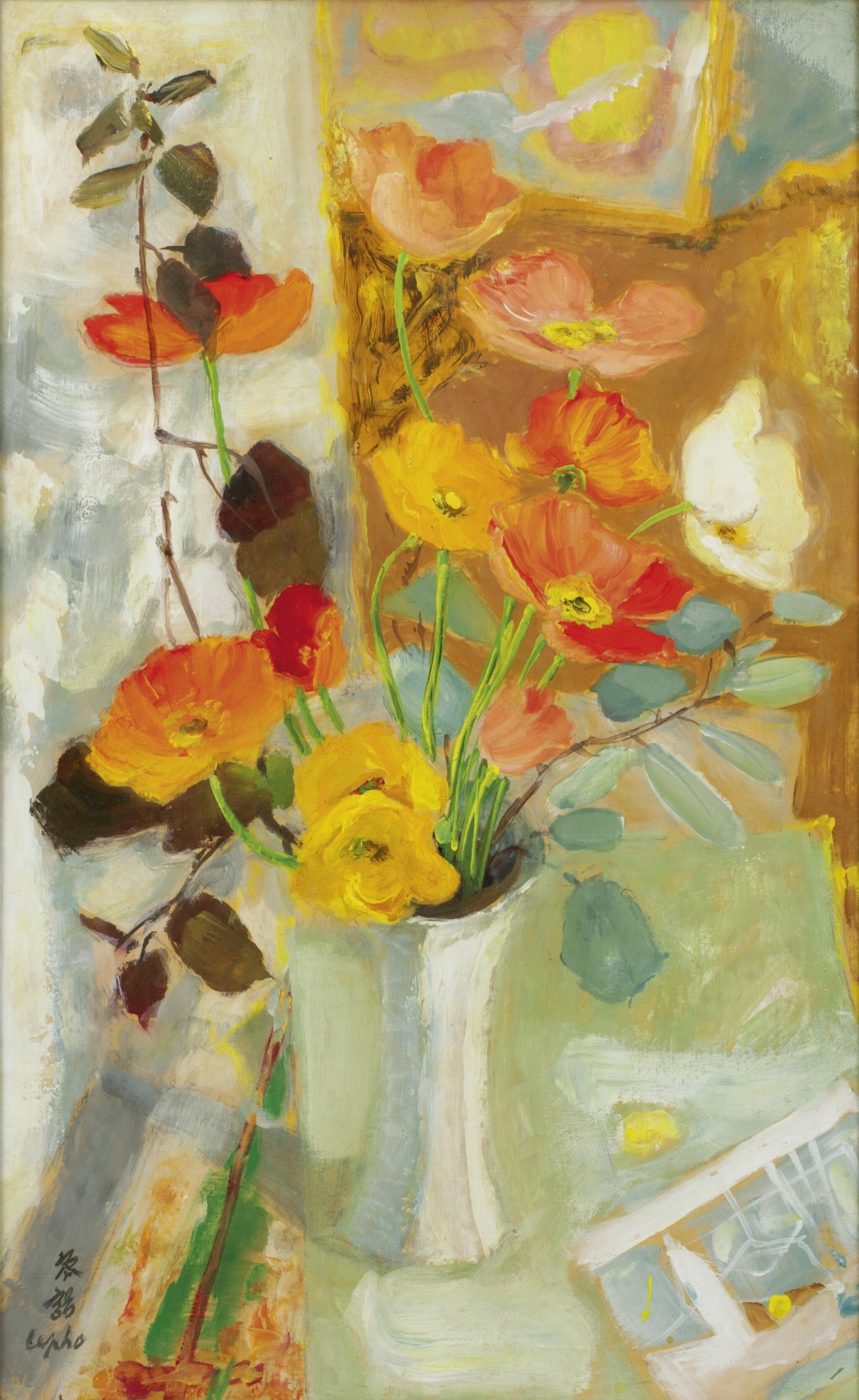 View full screen - View 1 of Lot 255. LE PHO 黎譜 | POPPIES AU VASE BLANC (POPPIES IN A WHITE VASE) 白色花瓶裡的罌粟花.