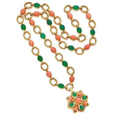 View 1. Thumbnail of Lot 16. Van Cleef & Arpels | Gold, Coral and Chrysoprase Pendant-Necklace, France.