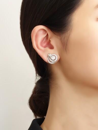 View 4. Thumbnail of Lot 1001. PAIR OF DIAMOND EARRINGS   鑽石耳環一對.