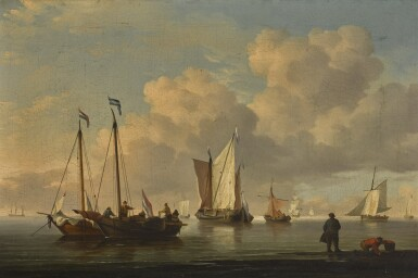 ATTRIBUTED TO CHARLES BROOKING | Dutch fishing boats off a shore in a calm
