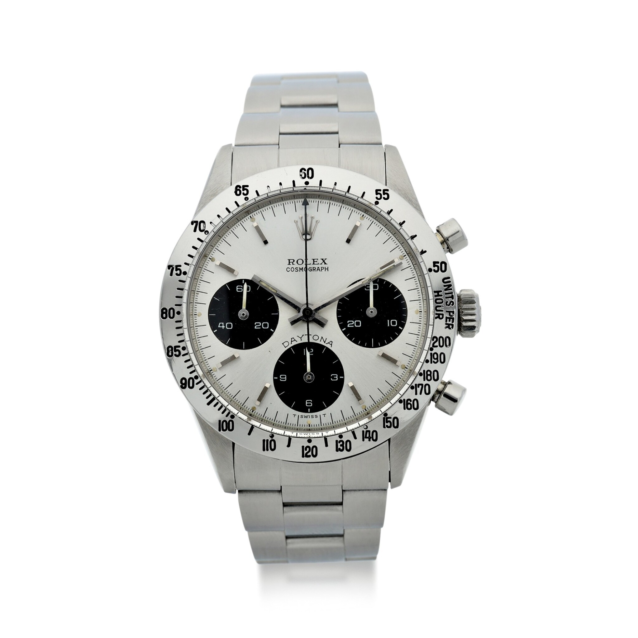 View full screen - View 1 of Lot 5. ROLEX | REFERENCE 6262 DAYTONA  A STAINLESS STEEL CHRONOGRAPH WRISTWATCH WITH BRACELET, CIRCA 1971.