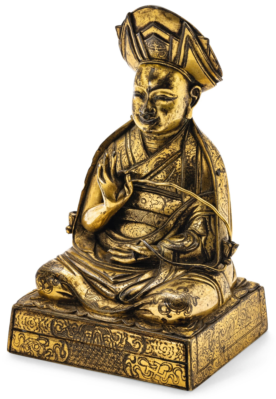 RARE STATUETTE DE ROLPAI DORJE, LE TROISIÈME CHANGKYA KHUTUKHTU (1717-1786), EN BRONZE DORÉ DYNASTIE QING, XVIIIE SIÈCLE  | 清十八世紀 鎏金銅三世章嘉呼圖克圖若必多吉坐像 | A rare gilt bronze figure of Rolpai Dorje, the 3rd Changkya Khutukhtu (1717-1786), Qing Dynasty, 18th century