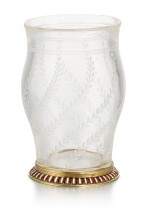 A Fabergé en plein enamel gold-mounted rock crystal vase, workmaster Michael Perchin, St Petersburg, 1899-1903