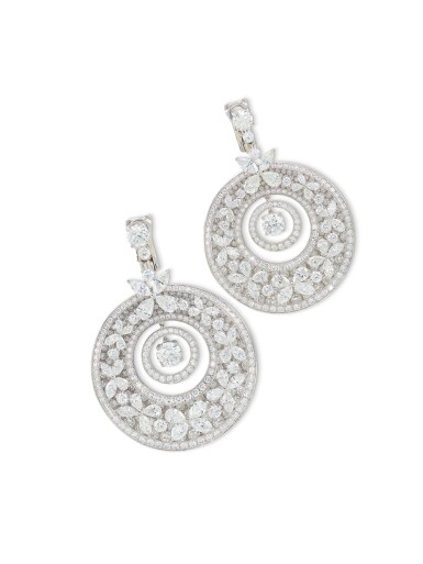 View 2. Thumbnail of Lot 1649. 'Butterfly' Pair of Diamond Pendent Earrings | 格拉夫 | 'Butterfly' 鑽石 耳墜一對.