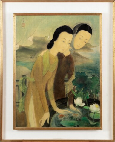 View 2. Thumbnail of Lot 1014. Le Pho 黎譜 | Two Women Overlooking a Goldfiish Pond 俯瞰金魚池的兩位女子.