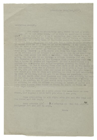 View 3. Thumbnail of Lot 144. GARBO, GRETA   An important collection of letters to Salka Viertel.