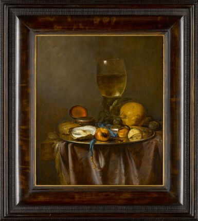 View 2. Thumbnail of Lot 158. Still life with a roemer, timepiece, oyster and fruit.