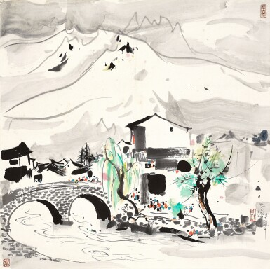 View 1. Thumbnail of Lot 3029. 吳冠中 Wu Guanzhong   憶玉龍山 Memories of Mount Yulong.