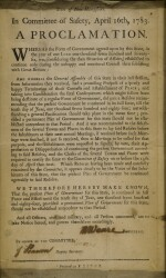 (AMERICAN REVOLUTION) | State of New Hampshire. In Committee of Safety, April 16th, 1783. A Proclamation. [Exeter, New Hampshire: 1783]