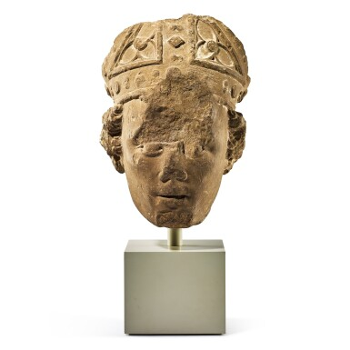 View 1. Thumbnail of Lot 2010. A fragmentary medieval French limestone head of a bishop 14th century   十四世紀 法國石灰岩雕戴冠主教頭像殘件.