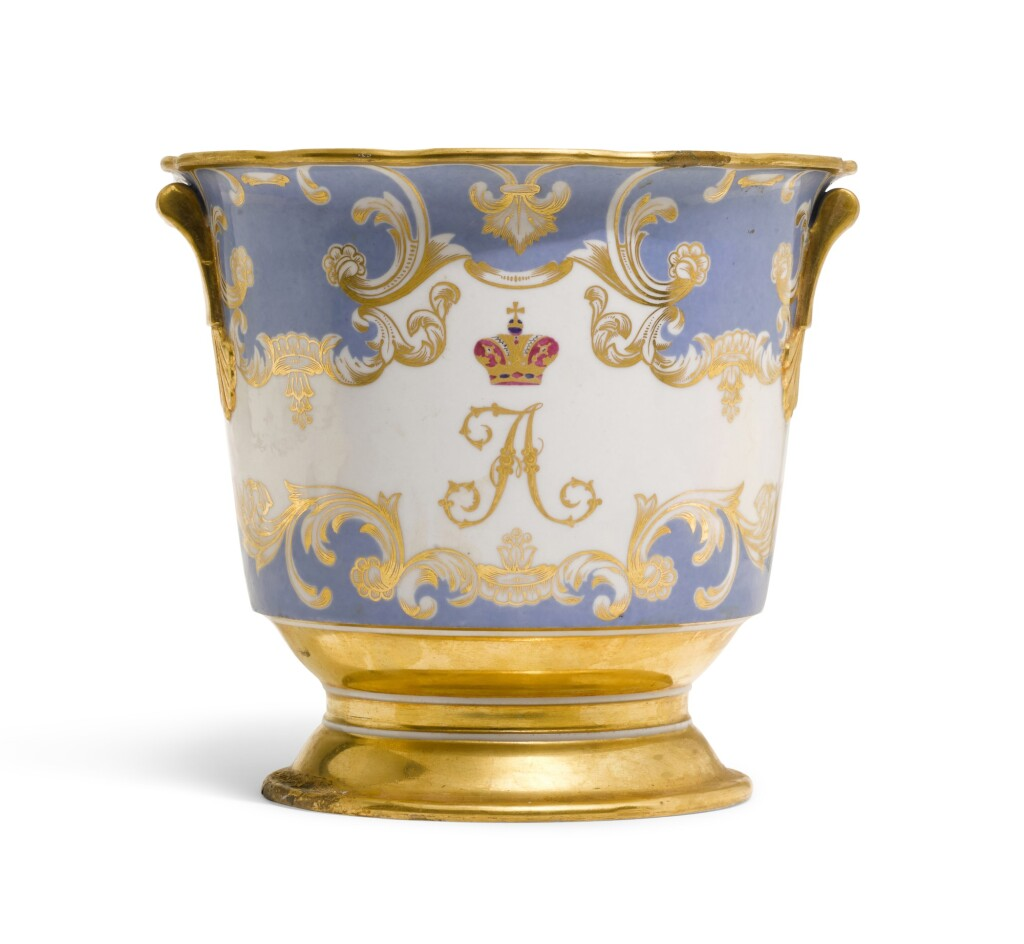 A PORCELAIN WINE COOLER FROM THE FARM PALACE BANQUET SERVICE, IMPERIAL PORCELAIN FACTORY, ST PETERSBURG, PERIOD OF NICHOLAS I (1825-1855)