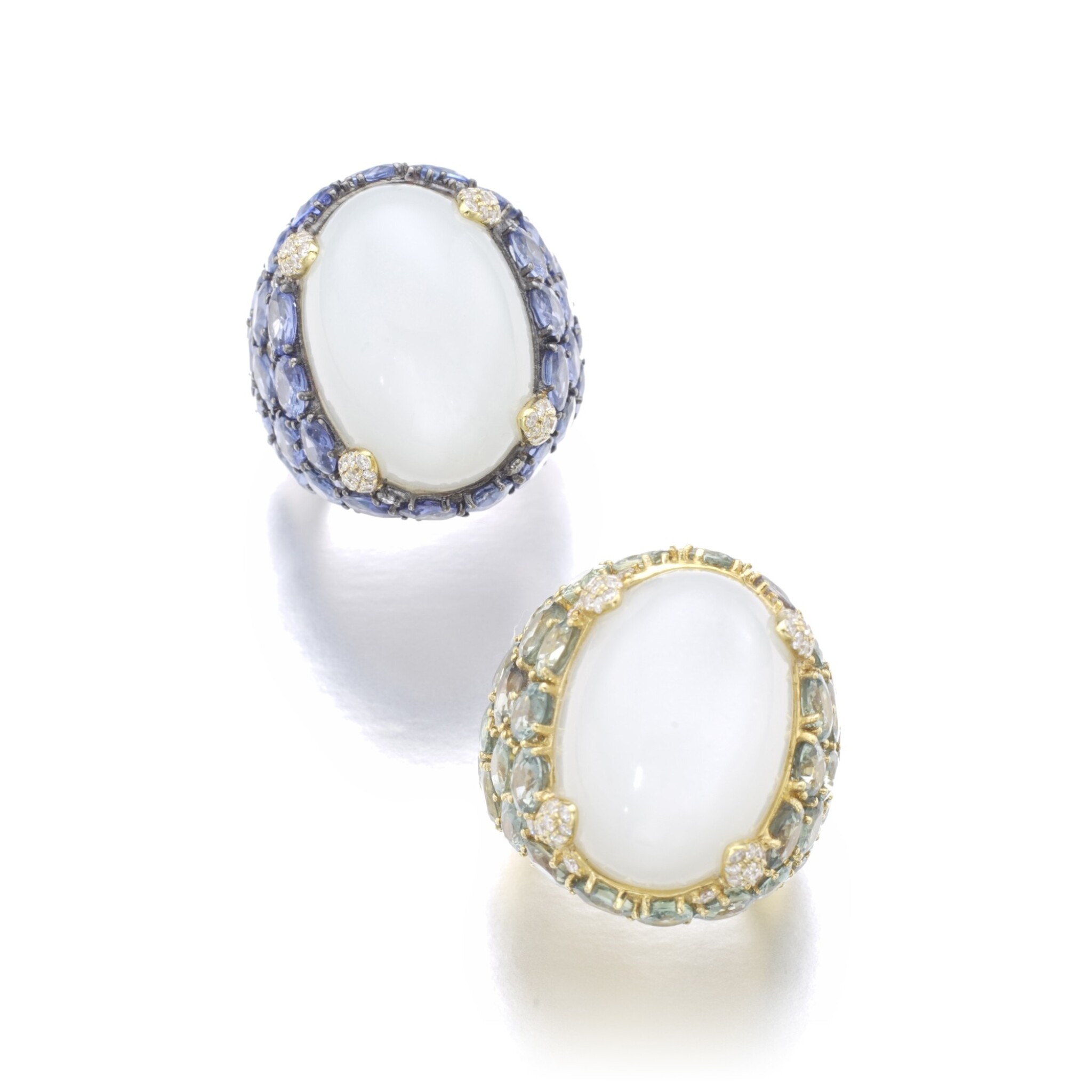 View full screen - View 1 of Lot 151. PAIR OF MOONSTONE AND SAPPHIRE RINGS.