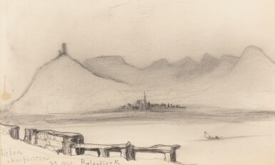 View 1. Thumbnail of Lot 201. A view of the Rhine in Rolandseck.