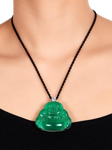 View 5. Thumbnail of Lot 1686. Jadeite 'Buddha' and Diamond Pendent Necklace | 天然翡翠雕「彌勒佛」 配 鑽石 項鏈.