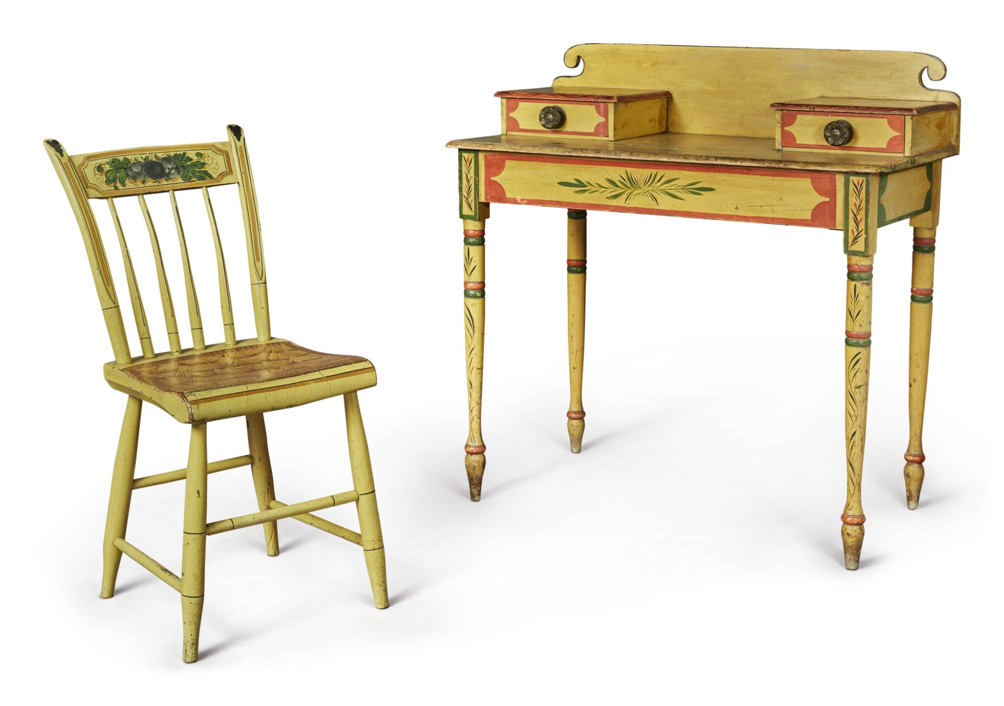 View full screen - View 1 of Lot 318. Fine Classical Polychrome Paint-Decorated Pine Dressing Table, Maine, circa 1825-1840.