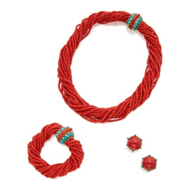 CORAL, TURQUOISE AND SEED PEARL SUITE OF JEWELS