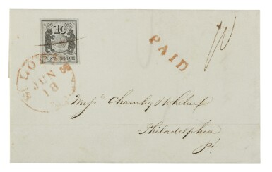 Postmaster's Provisional St. Louis, MO. 1846 10c Black on grey lilac (11X5)